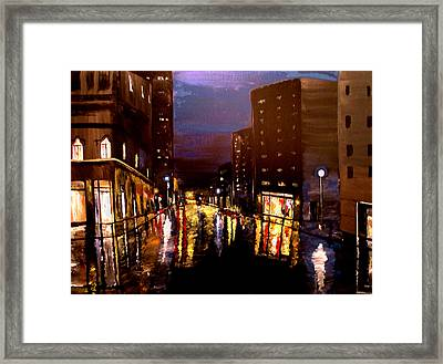 City Rain Framed Print by Mark Moore