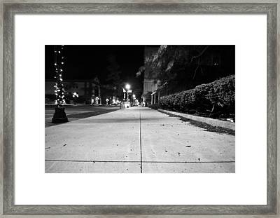 City Sidewalk At Night Framed Print by Dan Sproul