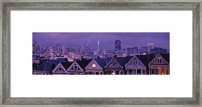 City Skyline At Night, Alamo Square Framed Print by Panoramic Images