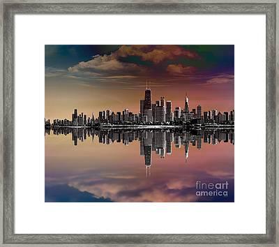 City Skyline Dusk Framed Print by Bedros Awak