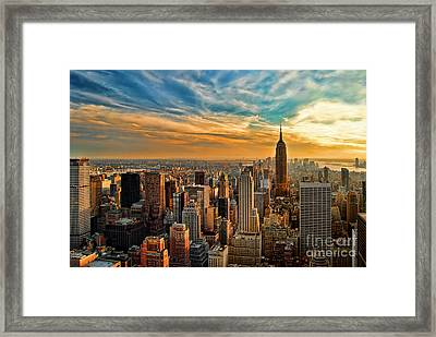City Sunset New York City Usa Framed Print by Sabine Jacobs