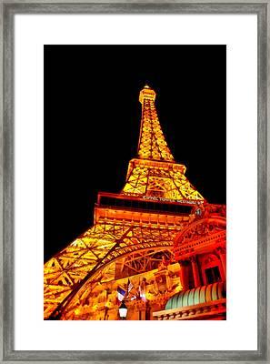 City - Vegas - Paris - Eiffel Tower Restaurant Framed Print by Mike Savad