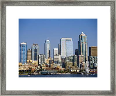 Cityscape Of Seattle Framed Print by Brenda Kean
