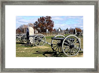 Civil War Cannons At Gettysburg National Battlefield Framed Print by Brendan Reals