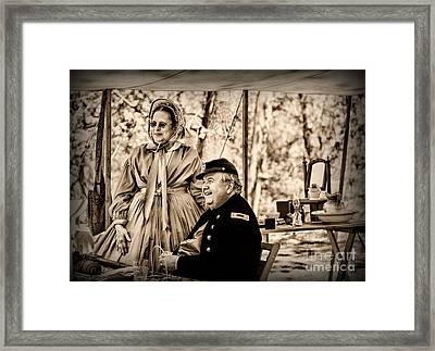 Civil War Officer And Wife Framed Print by Paul Ward