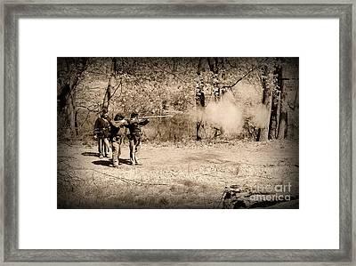 Civil War Soldiers Firing Muskets Framed Print by Paul Ward