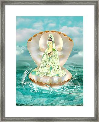 Clam-sitting Kuan Yin Framed Print by Lanjee Chee