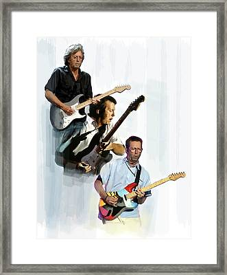 Clapton Eric Clapton Framed Print by Iconic Images Art Gallery David Pucciarelli