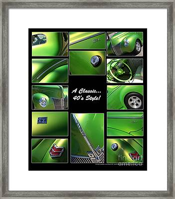 Classic 40s Style - Poster Framed Print by Gary Gingrich Galleries