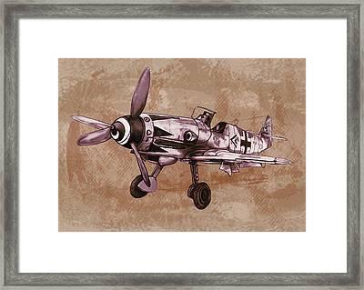 Classic Airplane In World War 2 - Stylised Modern Drawing Art Sketch Framed Print by Kim Wang