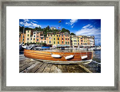Classic Boat In Portofino Framed Print by George Oze