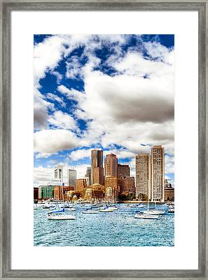 Classic Boston Skyline From The Water Framed Print by Mark E Tisdale
