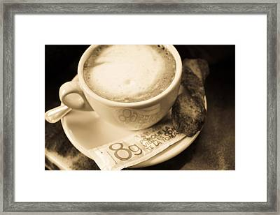 Classic Cafe Con Leche Cup In Spain Framed Print by Calvin Hanson