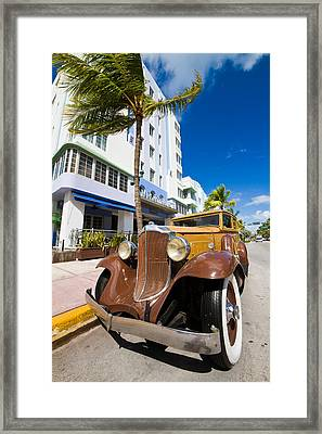 Classic Car Miami Art Deco District Framed Print by Mr Bennett Kent
