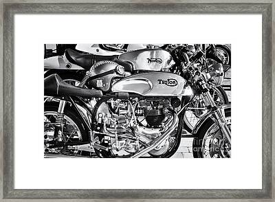 Classic Chrome Cafe Racer Motorcycles Framed Print by Tim Gainey