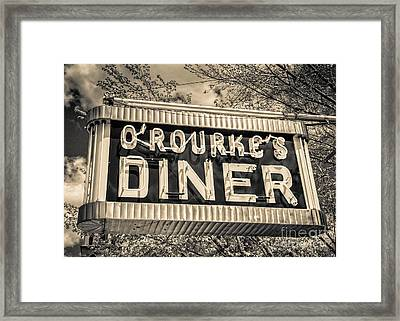 Classic Diner Neon Sign Middletown Connecticut Framed Print by Edward Fielding