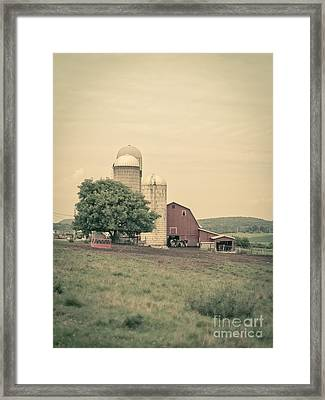 Classic Farm With Red Barn And Silos Framed Print by Edward Fielding