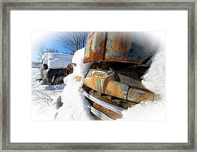 Classic Ford Pickup Truck In The Snow Framed Print by Edward Fielding