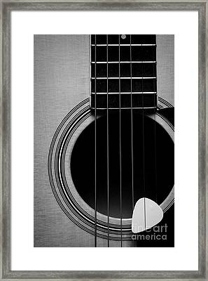 Classic Guitar In Black And White Framed Print by Paul Ward