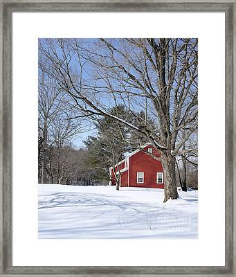 Classic Vermont Red House In Winter Framed Print by Edward Fielding