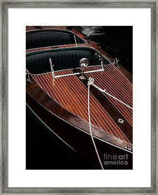 Classic Wooden Power Boat Framed Print by Edward Fielding
