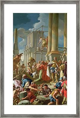 Classical Construction Scene Oil On Panel Framed Print by Francesco de Mura