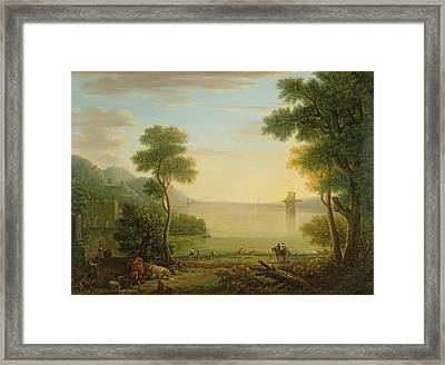 Classical Landscape With Figures And Animals, Sunset, 1754 Oil On Canvas Framed Print by John Wootton