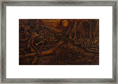 Clatsop Coyote God Italapas Framed Print by Carlo Olkeriil