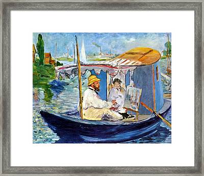 Claude Monet In Argenteuil Framed Print by Edouard Manet