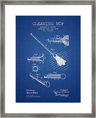Cleaning Mop Patent From 1905 - Blueprint Framed Print by Aged Pixel
