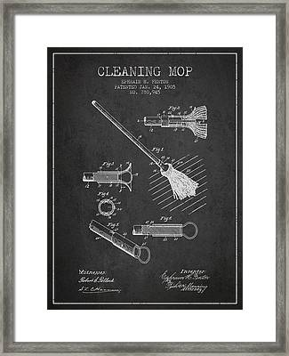 Cleaning Mop Patent From 1905 - Charcoal Framed Print by Aged Pixel