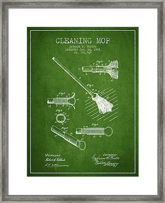 Cleaning Mop Patent From 1905 - Green Framed Print by Aged Pixel