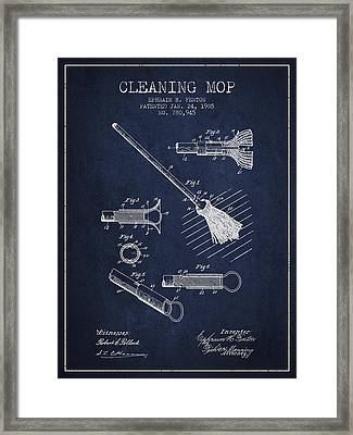 Cleaning Mop Patent From 1905 - Navy Blue Framed Print by Aged Pixel