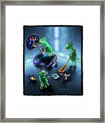 Cleanup The Alien Pigs Framed Print by Star  Mudersbach