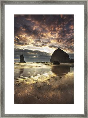 Clearing Skies At Cannon Beach Framed Print by Andrew Soundarajan