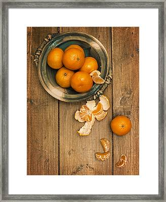 Clementines On Wooden Board Framed Print by Amanda And Christopher Elwell
