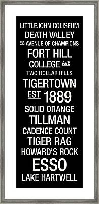 Clemson College Town Wall Art Framed Print by Replay Photos