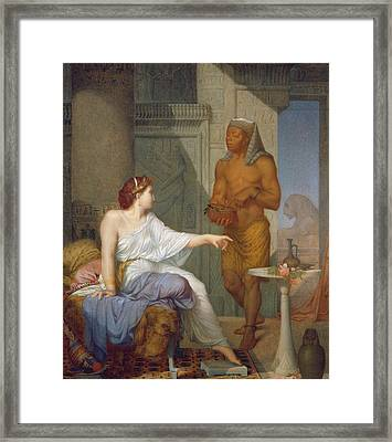 Cleopatra And Her Slave  Framed Print by Henri Blaise Francois Dejussieu