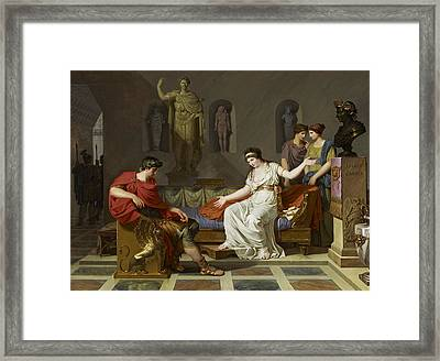 Cleopatra And Octavian Framed Print by Louis Gauffier