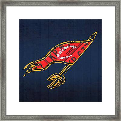 Cleveland Cavaliers Nba Team Retro Logo Vintage Recycled License Plate Art Framed Print by Design Turnpike