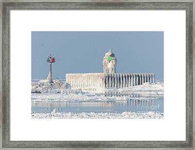 Cleveland Harbor East Pierhead Light Framed Print by Clarence Holmes