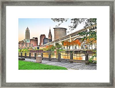 Cleveland Ohio Alongside The Cuyahoga Framed Print by Frozen in Time Fine Art Photography
