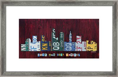 Cleveland Ohio City Skyline License Plate Art On Wood Framed Print by Design Turnpike