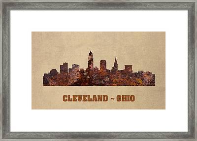 Cleveland Ohio City Skyline Rusty Metal Shape On Canvas Framed Print by Design Turnpike