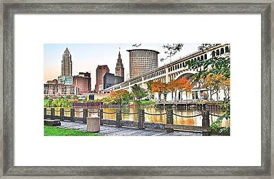 Cleveland Panorama Over The Cuyahoga Framed Print by Frozen in Time Fine Art Photography