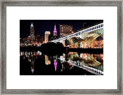 Cleveland Ohio Reflects Framed Print by Frozen in Time Fine Art Photography