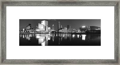 Cleveland Skyline At Dusk Black And White Framed Print by Jon Holiday