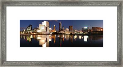 Cleveland Skyline At Dusk Framed Print by Jon Holiday