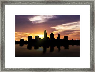 Cleveland Sunset Skyline  Framed Print by Aged Pixel
