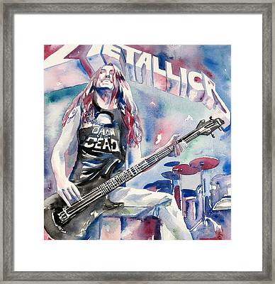 Cliff Burton Playing Bass Guitar Portrait.2 Framed Print by Fabrizio Cassetta